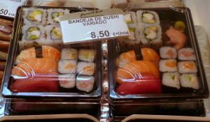 Bandejas de sushi para llevar en Pescadería Ernesto Prieto