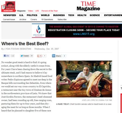 Proclamación en Time Magazine del buey como manjar único