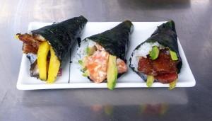 Sushi temaki elaborados en Pescadería Ernesto Prieto