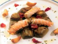 Receta de alcachofas de Tudela con cigalas