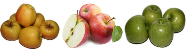 Muestrario manzanas Golden, Royal Gala, Granny Smith en Frutas Charito