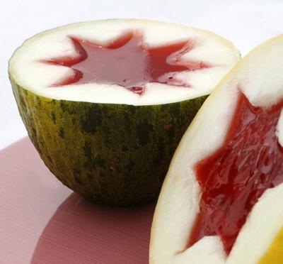 Receta de melón con gelatina de fresa