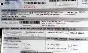 Documentación acreditativa de cebón avileño