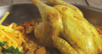 Receta de pollo coquelet con mango y papaya