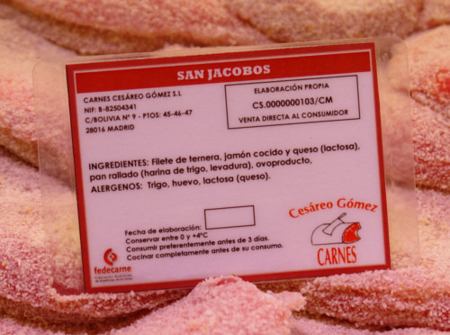 Etiquetado de ingredientes y alérgenos en Carnes Cesáreo Gómez
