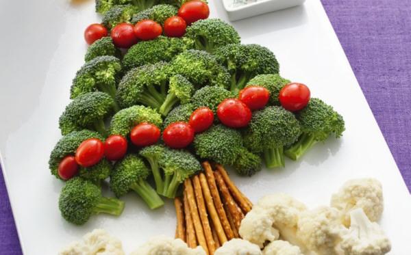 Verduras en la comida navideña